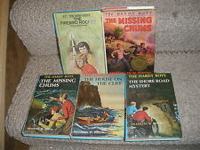 5 HC Hardy Boy Mystery books House on Cliff 1959, Missing Chums 1962, Shore Road