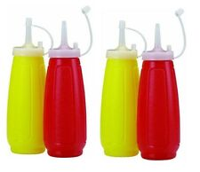 4pc Plastic Tomato Ketchup Red Sauce & Mustard Squeezy Bottle Dispenser With Cap