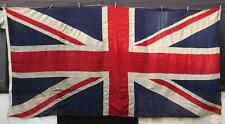 SUPERB VERY LARGE 10' x 5' VINTAGE SEWN HESSIAN COTTON UNION JACK FLAG