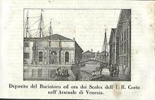Stampa antica VENEZIA scorcio dell' Arsenale Venice 1841 Old antique print