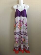 NWT ANTHROPOLOGIE LILKA PURPLE FLORAL PRINT HALTER LOUNGEWEAR MAXI DRESS SZ:L