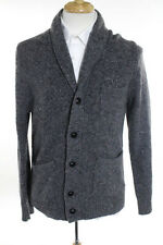 J Crew Grey Wool V Neck Button Front Collared Cardigan Sweater Size Medium