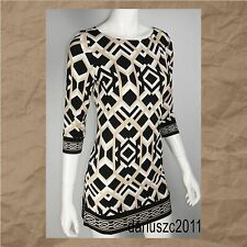 WHITE HOUSE BLACK MARKET SIZE M BLACK/PEARL DUST PRINTED TUNIC BLOUSE TOP