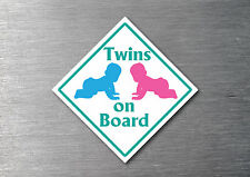 Twins Boy & Girl on board sticker quality 7 year vinyl  water & fade proof baby