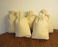"5 CANVAS COIN BANK DEPOSIT BAGS WITH SEWN-ON TIES 12"" BY 19"" MONEY SACKS BAG"