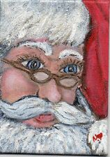 ACEO 2.5x3.5in Orig Art Acrylic painting Santa Christmas Holiday Magnet Hart