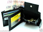 MENS REAL SOFT LEATHER BLACK WALLET CREDIT CARD PHOTO ID & COIN POUCH PURSE 340