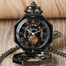 Steampunk Men's Mechanical Transparent Skeleton Octagon Pocket Watch Xmas Gift