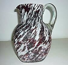 UNUSUAL LARGE DEEP RED WHITE OVERSHOT GLASS JUG PITCHER URANIUM HANDLE 24cm HIGH