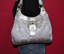 COACH Signature Silver Purple Canvas Sateen Leather Hobo Purse Bag F18911 $298