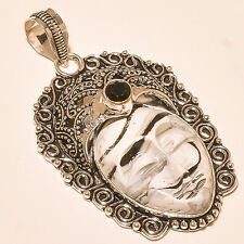 CARVED ZEBRA JASPER FACE WITH BLACK ONYX 925 STERLING SILVER PENDANT 2""