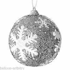 3 Christmas Party Elegant Frozen Ice Snowflake Novelty Tree Baubles Decorations