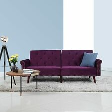 Modern Tufted Velvet Splitback Sleeper Futon Sofa w/ Nailhead Trim - Purple