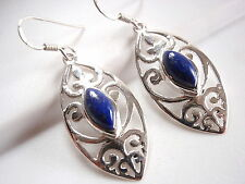Lapis Lazuli Filigree Earrings Sterling Silver Dangle Corona Sun Jewelry