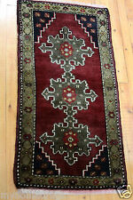 Antique 1'7''x3'2'' Wool Pile Natural Dyes Cushion Cover Face Rug Turkey