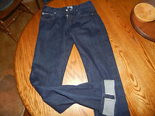 Naked & Famous Jeans Skinny Guy Button Front CANADA  32 X 36 Indigo Selvedge VG