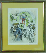 Ira Moskowitz (American/Polish, born 1912 - ) Judaica hand colored etching