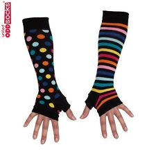 United Oddsocks Long Arm Warmer Sleeves Black Spots / Stripes Fingerless Gloves