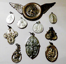 Lot of 10 Sterling & Silver tone Crucifix Medal Cross Pendant Charm Rosary Italy