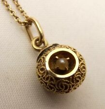 Vtg 10K Gold Seed Pearl Necklace Woven Rope Ball Pendant Estate Ornate Drop