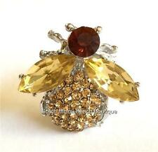 Silver Gold Bee Pin Brooch Crystal Elegant Insect Bug Bumble USA Seller