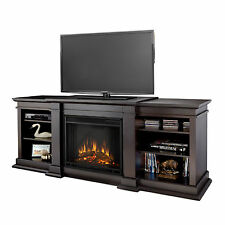 Real Flame Fresno Dark Walnut Entertainment Center Electric 71.73-inch Fireplace