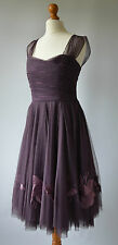 Ladies Coast Plum Purple 50's Style Tulle Net Embroidered Cocktail Dress Size 8