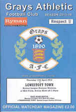 2013/14 grays athletic v lowestoft ville 17-04-2014 ryman ligue premier (mint)