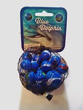 GLASS MEGA MARBLES *BLUE DOLPHIN* 24 players +1 Shooter FREE SHIPPING!