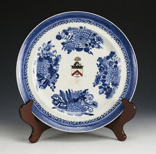 Chinese Export Porcelain Cabinet Plate, c1810.Hand Painted Blue & White Armorial