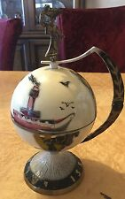 Israeli Enameled Metal Hinged Globe on Base w Little Bowls Inside