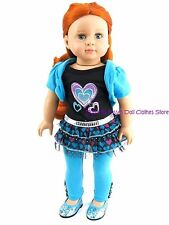 Tulle Hearts Dress & Leggings Doll Clothes Made For 18 in American Girl Dolls