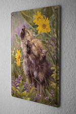 Tin Sign Nursery Decoration Howling wolf pups Metal Plate