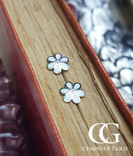 Solid 9ct White Gold Daisy Children's Babies Stud Earrings