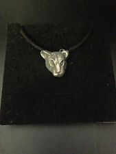 Leopard Head Pewter Effect Animal Pendant On a Black Cord Necklace Handmade