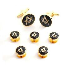 Black & Gold Masonic Cufflinks & 5 Button Studs Mason Formal Present Gift Box
