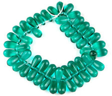 50 Czech Drop Emerald Green Pressed Glass Loose Beads Jewelry Craft 5x10mm