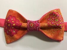 Custom Mens Orange/Pink Floral Bow Tie Pre-tied Adjustable Handmade bowtie