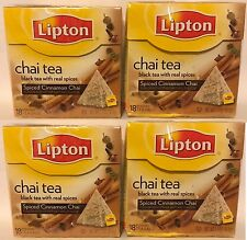 Lipton Chai Tea Black Tea With Real Spices Spiced Cinnamon 18 Pyramid Bags 4 Lot