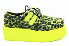 Pleaser Mens V Creeper 507 UV Lace-Up Platform Shoe Lime and Cheetah Size 5 M