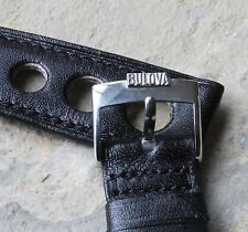 BULOVA steel buckle leather vintage watch rally band 11/16 17.3mm size 1960/70s
