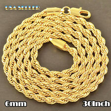 USA Seller Mens 14K Gold PT Stainless Steel Rope 30Inch 6mm Chain Necklace 104G