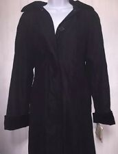 WOMEN'S NWT CLAIBORNE  BLACK ALL SEASONS COAT W HOOD AND SCARF SIZE 6
