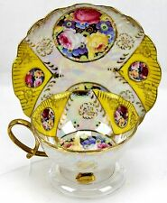Vintage Metasco Yellow Iridescent Floral Gold 3 Footed Teacup & Saucer Japan