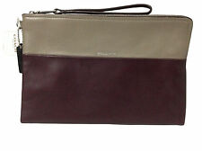 Coach Leather Colorblock Oxblood/Olive Gray Large Borough Clutch Wristlet F52112