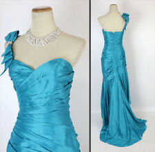 Jovani Size 0 Turquoise Prom Formal 1 Shoulder Long Gown $750 Mermaid Cruise