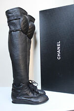 New sz 7.5 / 38 CHANEL Black Tumbled Lamb Knee Pad Thigh High Sneaker Boot Shoes