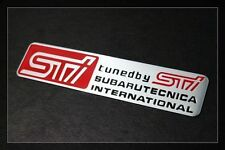SUBARU TECNICA INTERNATIONAL ENGRAVED METAL BADGE EMBLEM STICKER STI WRX IMPREZA