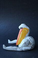 White Pelican Bird Wooden Puppet - Rustic Wood Handcraft / Statue - Sz S