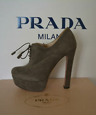 NIB PRADA SUEDE LACE UP PLATFORM SHOES SZ US 10 EU 40.5 MADE IN ITALY $850